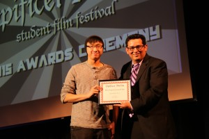 """Jonathan Woo receiving """"Best Editing"""" award at our student film festival"""